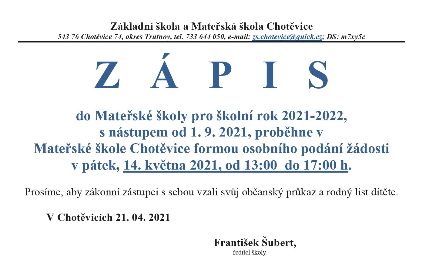 You are currently viewing Zápis do Mateřské školy pro školní rok 2021-2022